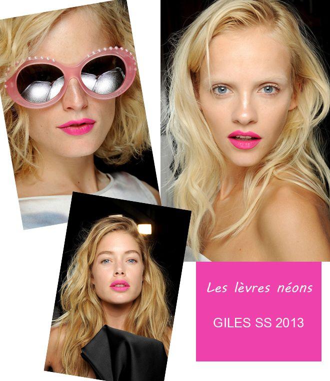 giles ss2013_ beauté backstage lèvres néons fashion week